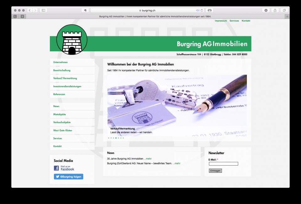 Mandat Re-Design Webseiten Burgring Gruppe