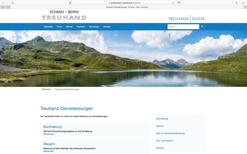 Webseite Schmid + Berni Treuhand